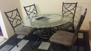 Antique Glass Dinning Table set- 4 Chairs