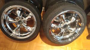 """Mags 18"""" chromés avec pneus sport inclus pour offset 24"""