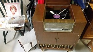 Record player with cabinet. (Over 80 years old)