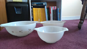 Three Vintage Serving Bowls - faded snow flake design