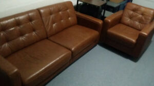 Brown Leather Couch and Chair Set