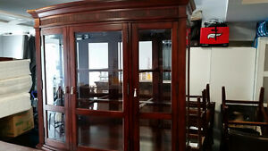 CHINA CABINET, TOP PART ONLY, $50!! THICK GLASS SHELVING.