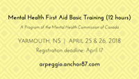 Mental Health First Aid Basic Training - Yarmouth, NS