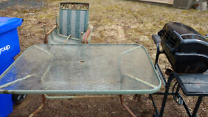 Free Glass Patio Table, Chairs And Old BBQ