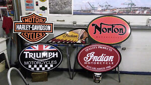 LARGE METAL HARLEY AND INDIAN CYCLE SIGNS