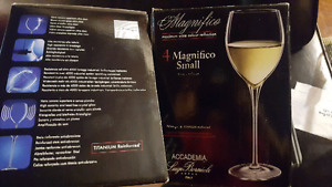 2 boxes brand new in box Italian made crystal wine glasses