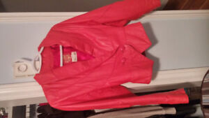 Red leather strapless dress and jacket