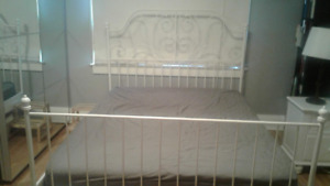 Ikea Metal Bed Frame, Wooden Box Spring, and Mattress