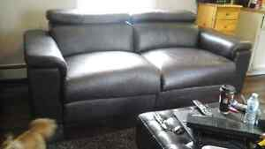 Expresso  leather brown sofa  REDUCED,with built in recliners