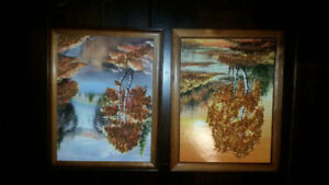 Gorgeous tree art paintings speckled with amber gems