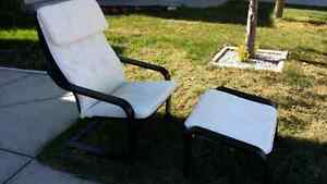 Ikea poang chair with foot stool.