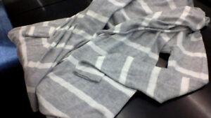 Grey and white striped light weight open cardigan from Splendid