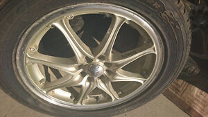 "Konig 17"" rims and 4 new low profile tires"