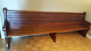 Solid Oak Antique Church Pew