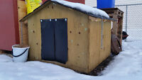 Insulated Dog House With Heat Lamp wired in.