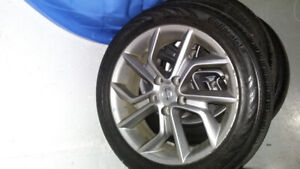 all season size 17in tires with rims with Nissan on them.