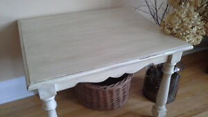 Painted & Distressed Cream/Beige End Table