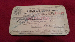 N.S. LIQUOR LICENSE PERMIT FROM 1939