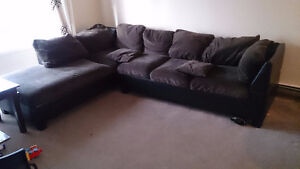 Sectional sofa lounge couche - coffee brown colour