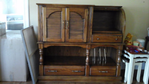 SOLID OAK CABINET WITH TURNTABLE SHELF