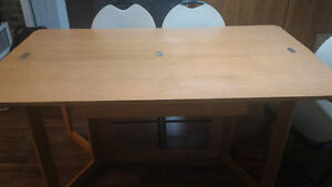 Foldable dinning table in light cherry sets 6 people