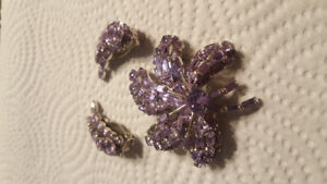 Beautiful violet clip on earrings and brooch.
