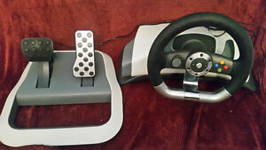 Xbox 360 wireless steering wheel and pedals