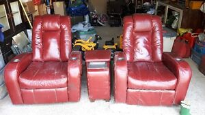 two recliners with console