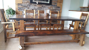 Barn wood dining room table, chairs and bench with epoxy finish