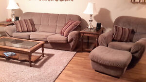 couch set, end tables and coffee table