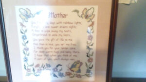 Framed Mother cross stitch in Brighton