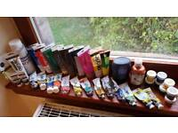 Acrylic and other paint, art supplies