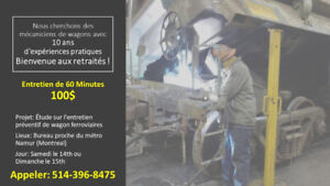 Mécaniciens de Wagons   Train   10 ans d'expérience    Retraités