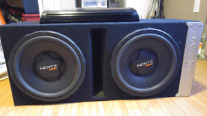 """Two 10"""" hertz subs in a ported box with 2200w Boss amp"""