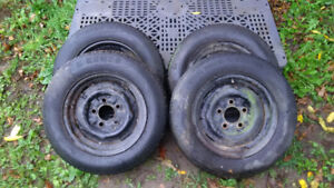 "Four 13"" Radial Tires and Four 13"" Steel Rims-5 Bolt For Trailer"