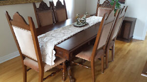Italian custom built walnut dining set lowered $1,500