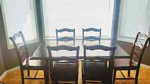 moving sale dining table set from Pier One and couch and chair
