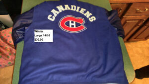 MONTREAL CANADIENS SZ LARGE 14-16 WINTER JACKET