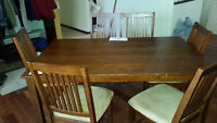 Cherry Wood Solid Wood Table SUEDE CHAIRS
