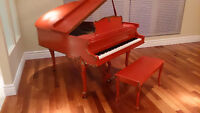 French Style Coral Colour w/Gold Baby Grand Piano