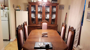 6 chairs, table with leaf and hutch