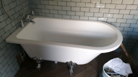 Victoria plum orchard Dulwich freestanding bath and shower screen.