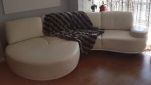 Italian high quality leather couch.  Designer, crisp white.