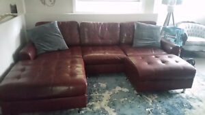 Sectional with ottoman $650.00 obo