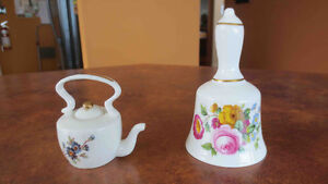 Fine china bell and miniature teapot
