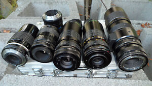 6 35mm Camera Lenses Various Mounts $60 All. Unknown mounts...