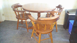 FURNITURE - SOLID WOOD TABLE AND 4 SOLID WOOD CHAIRS