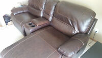 Leather Chaise lounge and combined Recliner for sale