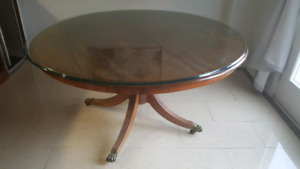 Antique round table glass top.
