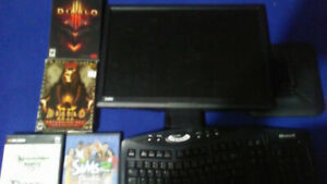 Computer Screen and old games for sale